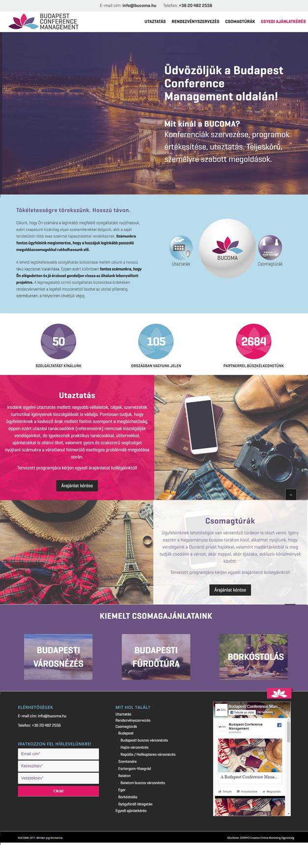 BUCOMA Rendezvényszervezés wordpress weboldal készítés