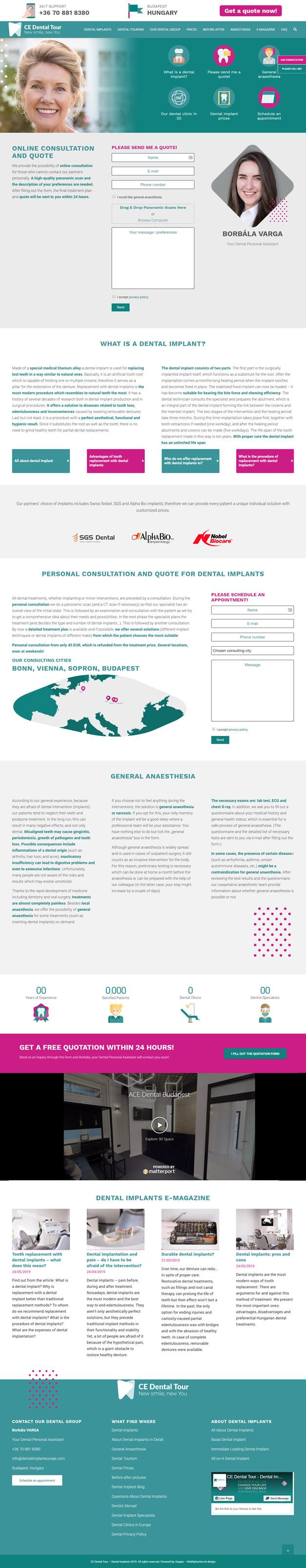 CE Dental Tour wordpress weboldal készítés
