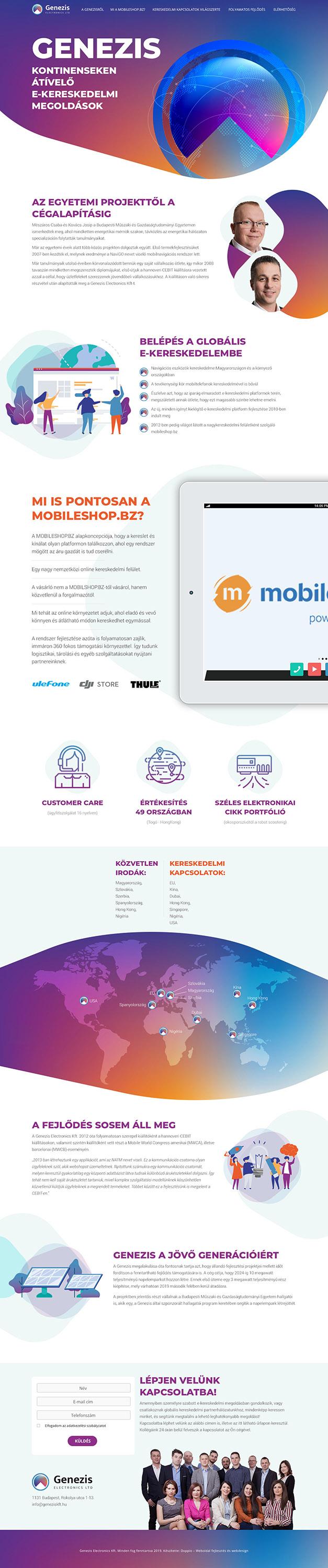 Genezis Electronics wordpress weboldal készítés