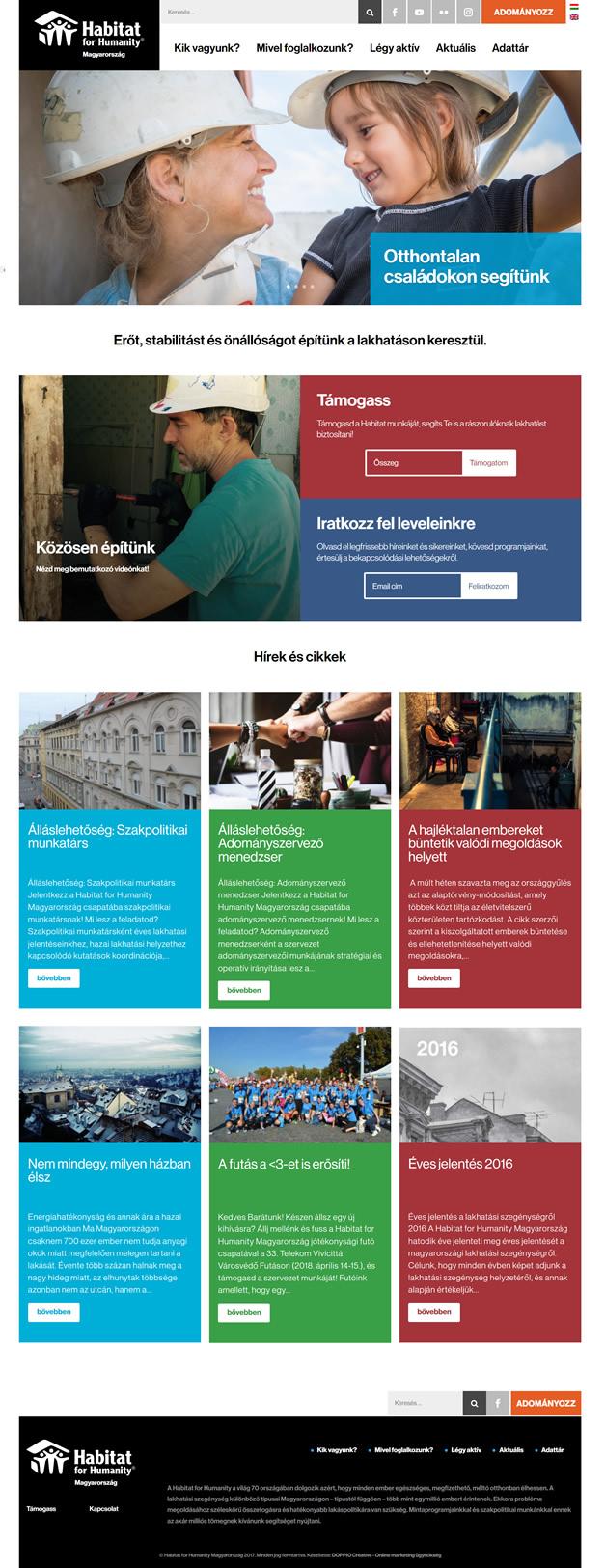 Habitat for Humanity wordpress weboldal készítés