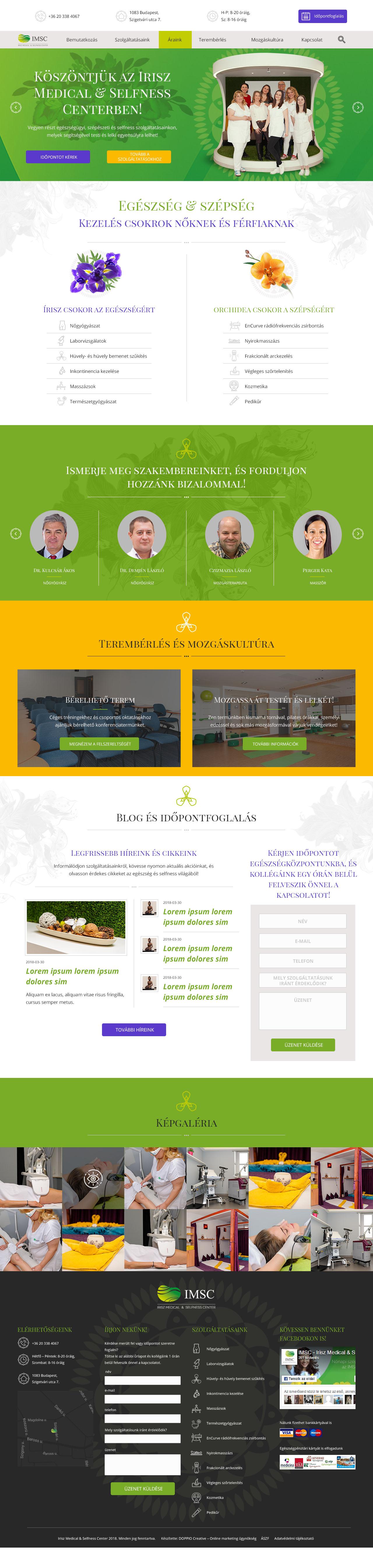 Irisz Medical Center egyedi fejlesztés