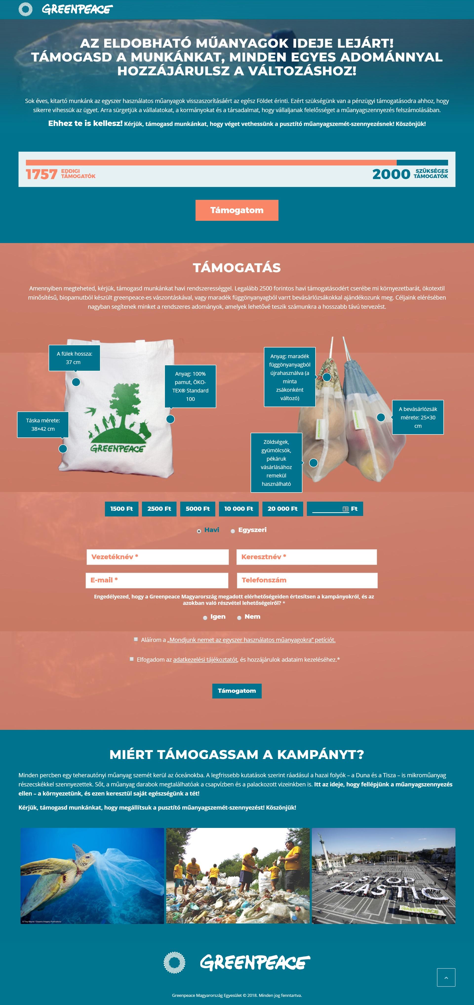 Greenpeace - Műanyagmentes Magyarország wordpress weboldal készítés
