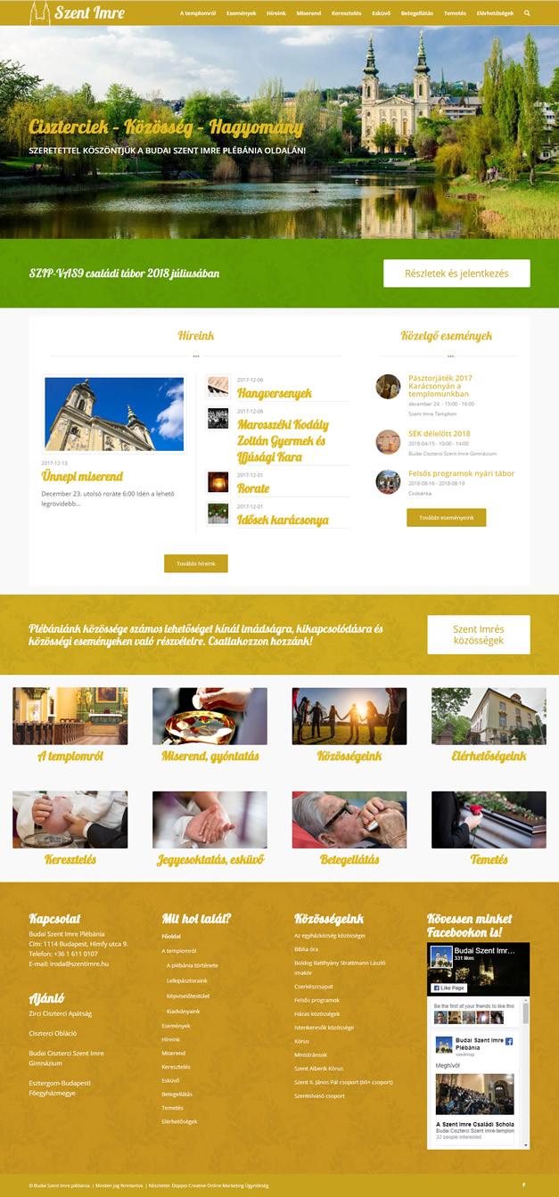 Szent Imre Plébánia wordpress weboldal készítés
