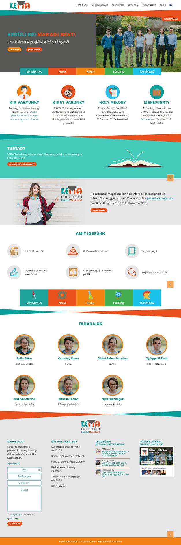 KEMA Érettségi felkészítők wordpress weboldal készítés