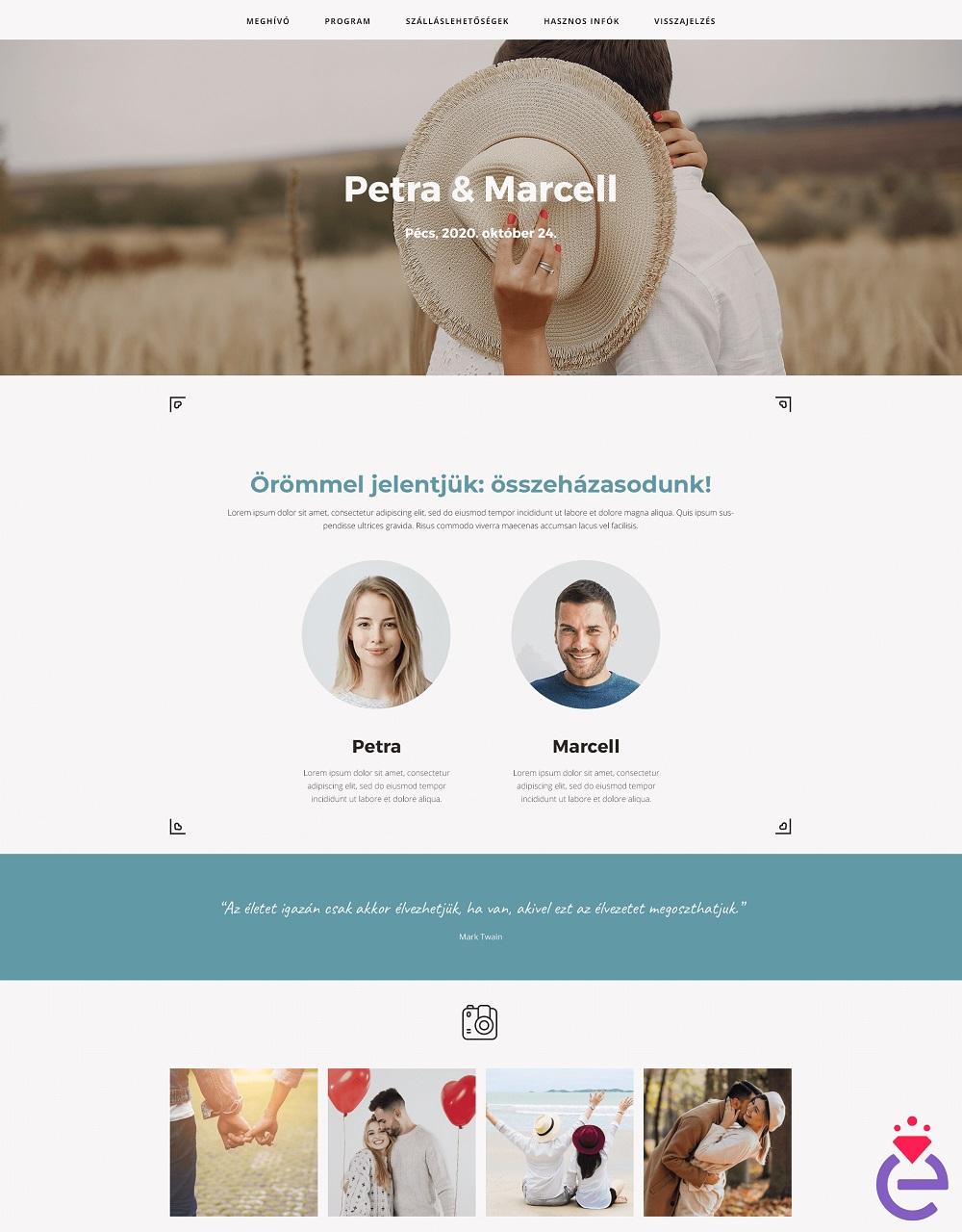 Online esküvőszervezés - Weboldal
