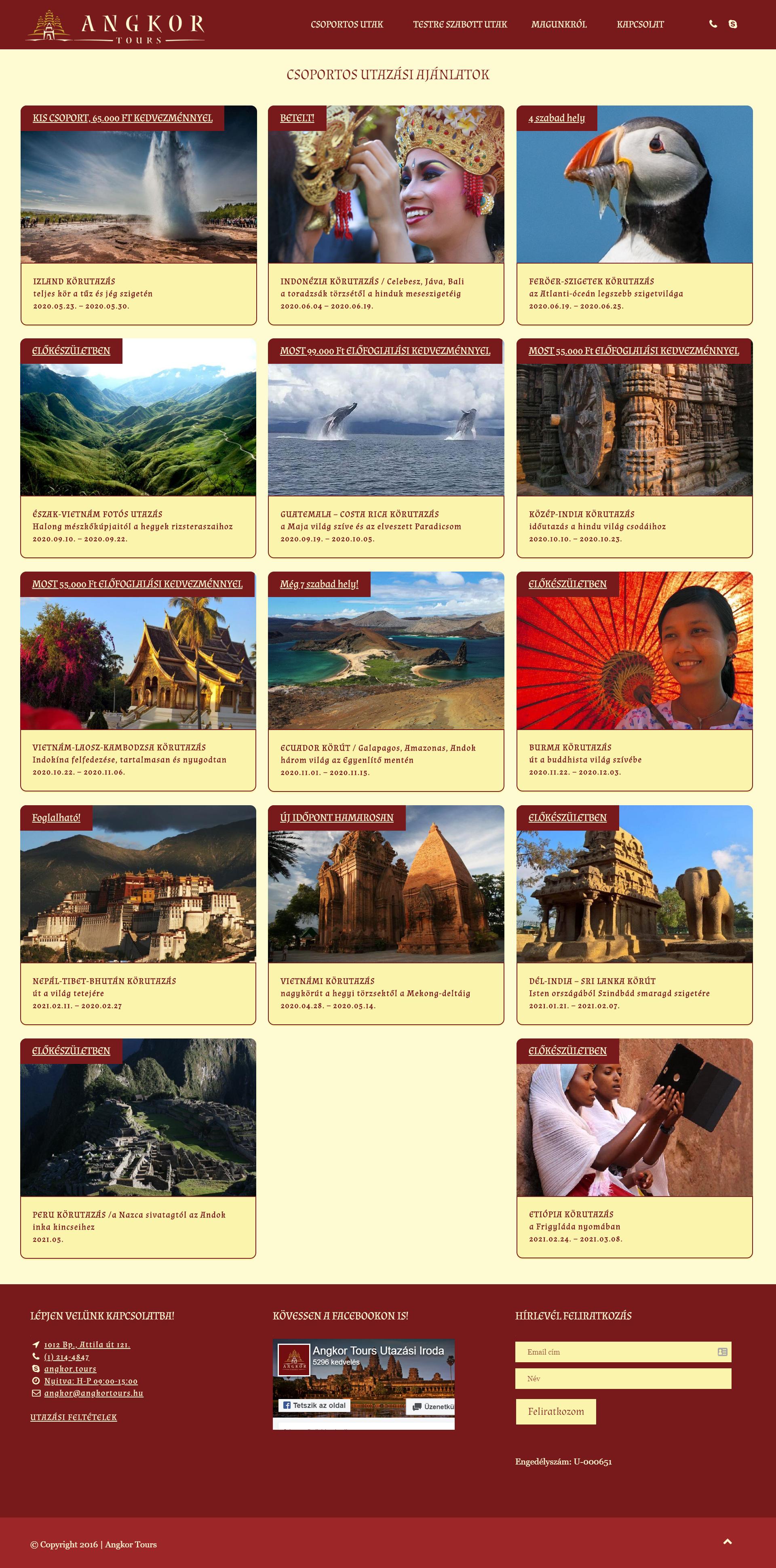 Angkor Tours Wordpress weboldal készítés