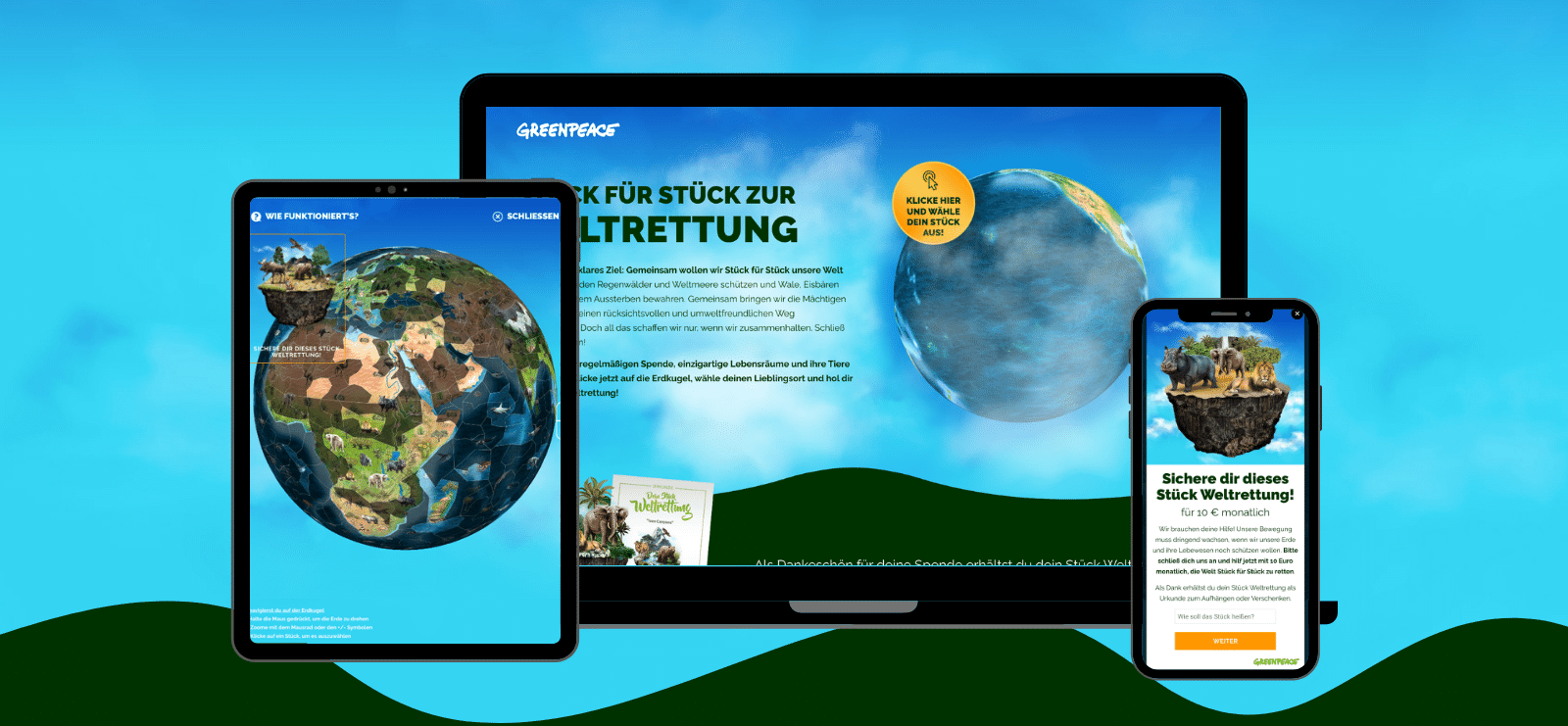 A Doppio Creative online marketing ügynökség által készített digitális illusztrációk a Greenpeace Austria Weltrettung kampányához
