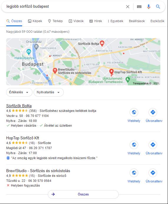 Google Cégem Local Pack Listing