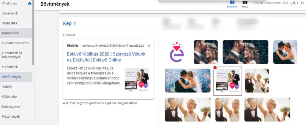 Google Ads képbővítmény